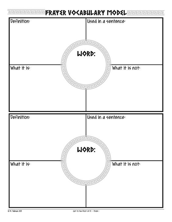 Free Frayer Model Vocabulary Graphic Organizers  Vocabulary