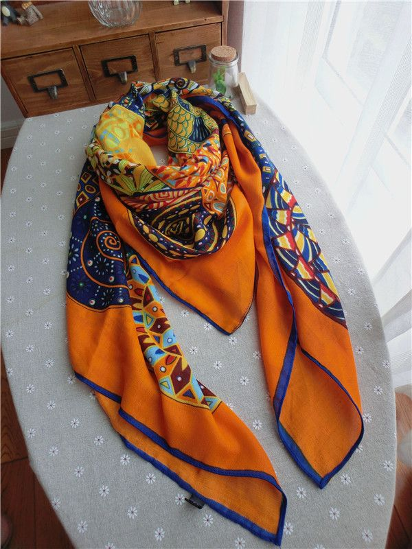 Morpheus Boutique  - Orange Pattern Colorful Cotton Designer Shawl Long Scarf Wrap, CA$30.76 (http://www.morpheusboutique.com/new-arrivals/orange-pattern-colorful-cotton-designer-shawl-long-scarf-wrap/)