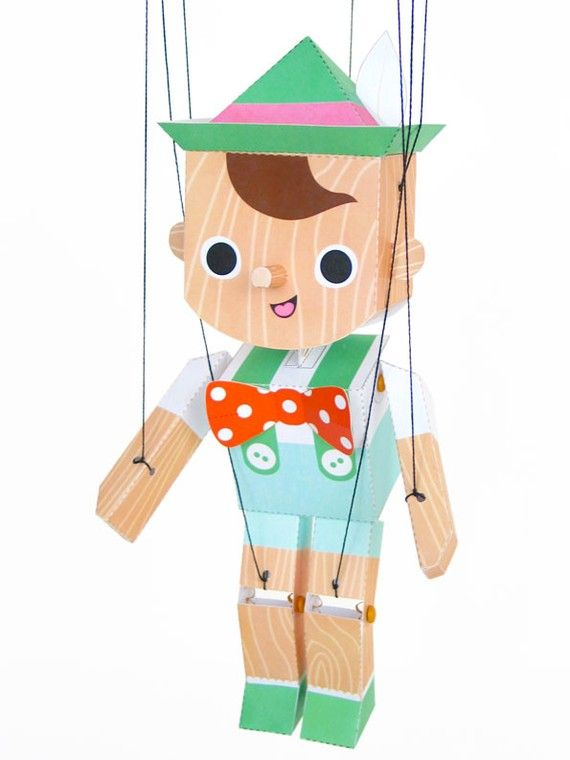 Pinocchio Marionette Puppet Printable Paper Craft PDF | Pinterest ...