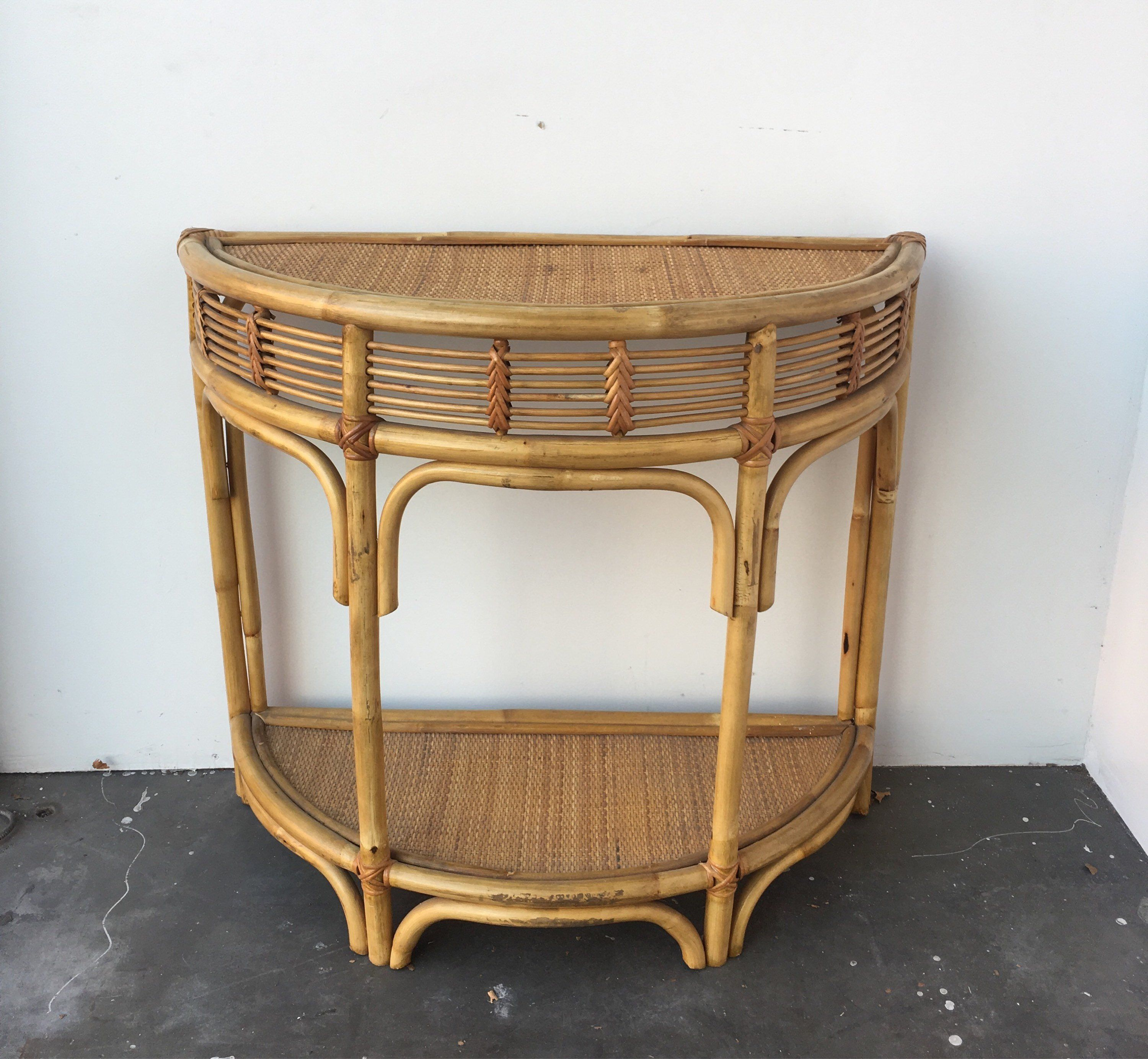 Vintage Bamboo Table Woven Rattan Console Table Small Etsy Bamboo Table Small Entryway Table Table