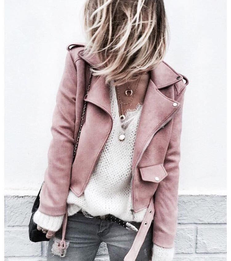 Chaqueta cuero rosa zara