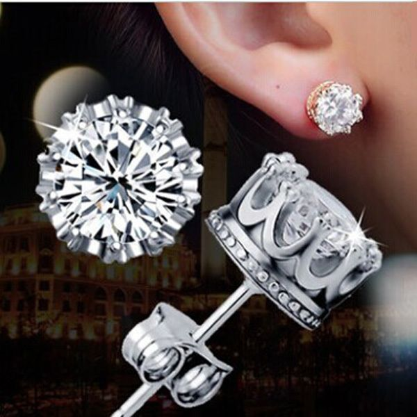 Click To 925 Silver Earrings 1 Karat Aaa Cubic Zirconia Stud