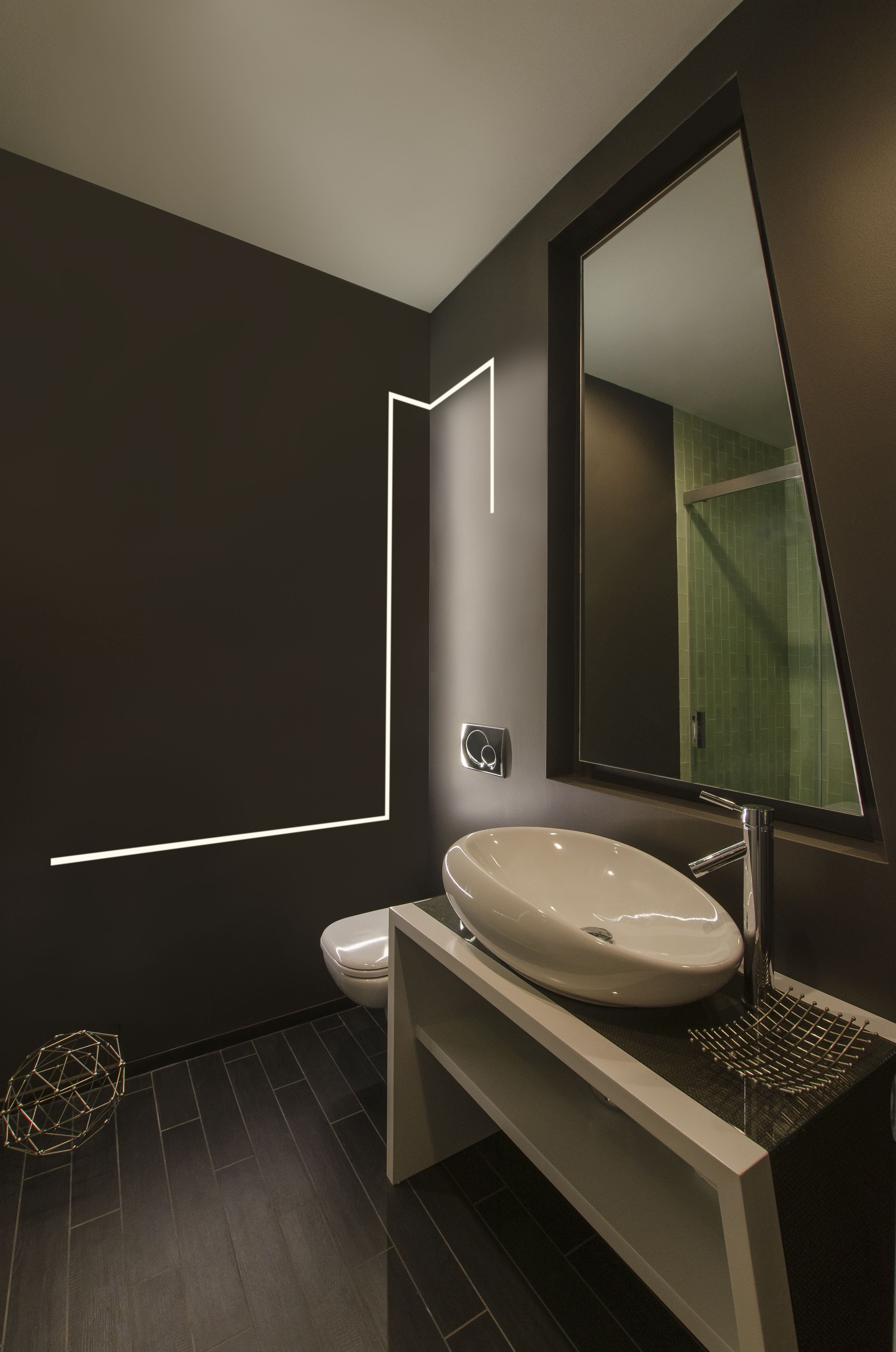 Plaster in led lighting modern led lighting for the bathroom led strip lighting built into the wall of this bathroom how cool mozeypictures Gallery