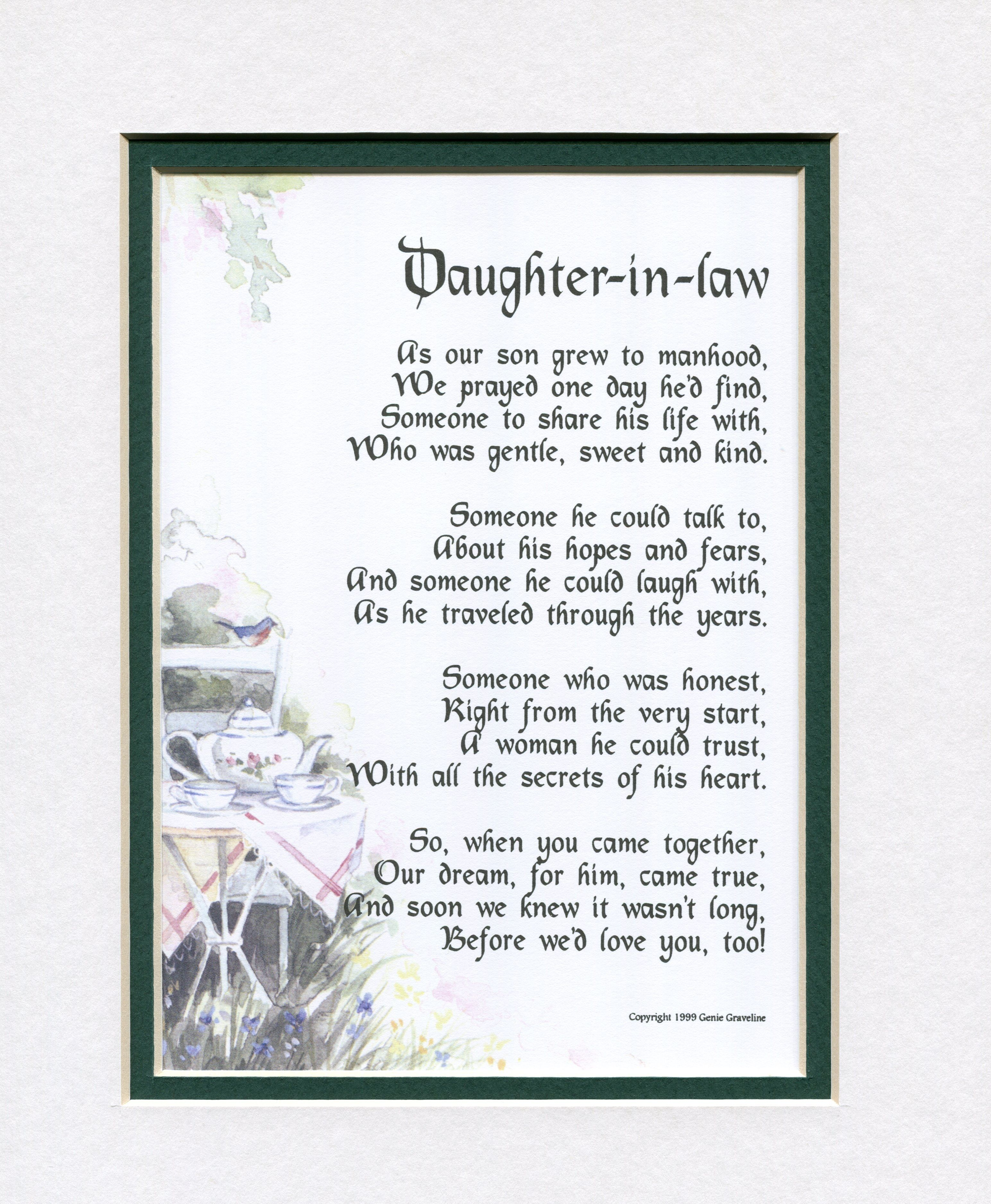 Future Daughter In Law Poems : future, daughter, poems, Daughter, Gifts,, Birthday, Wedding, Poems