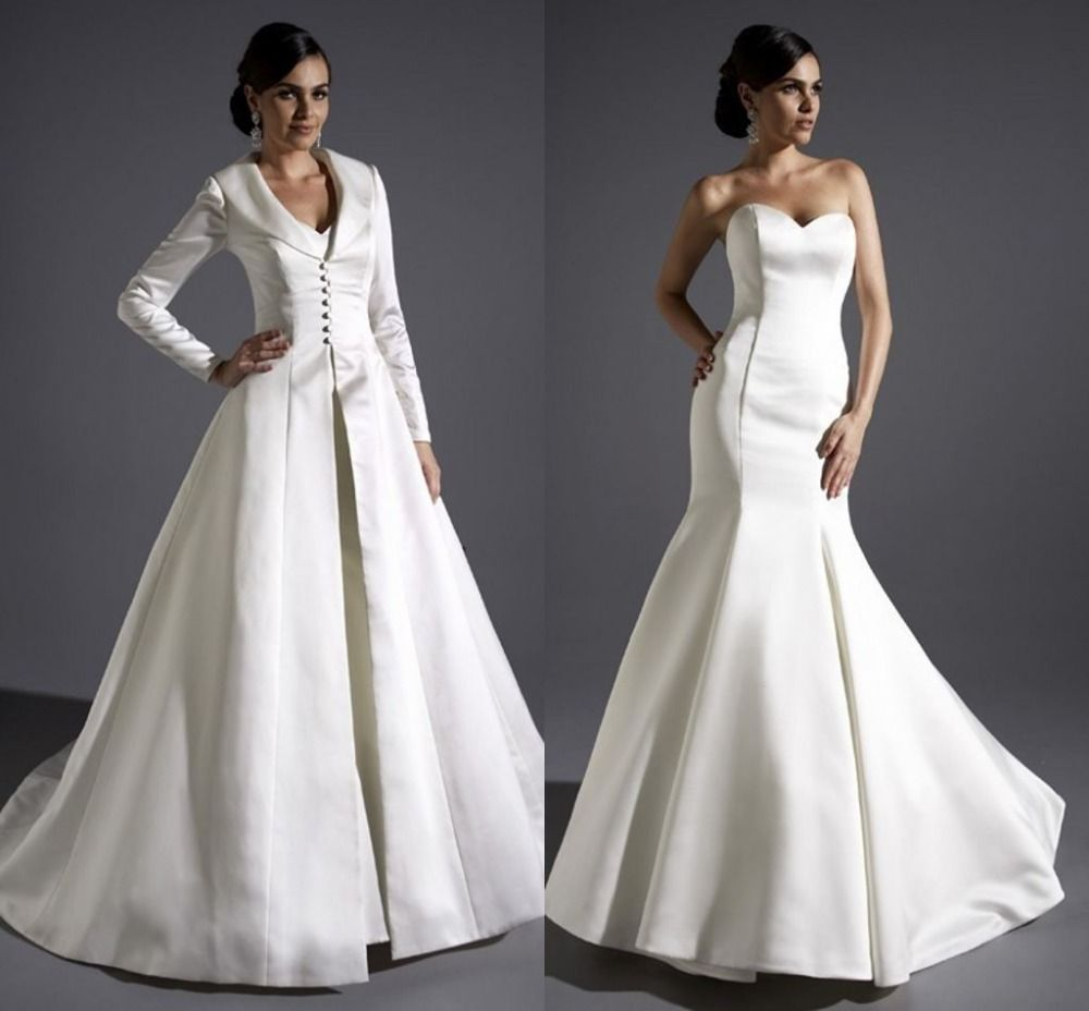 wedding gown with long sleeves satin over coat wedding