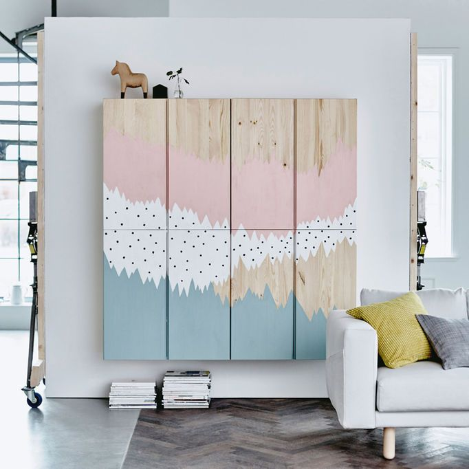 859475c39 IVAR cabinets with a painted mural on them in blue, white and pink ...