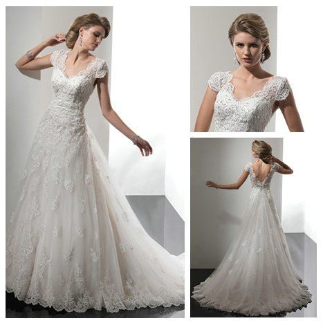 Backless Design Ivory Lace Tulle Short Sleeve Bridal Wedding Dress Muslim 2012