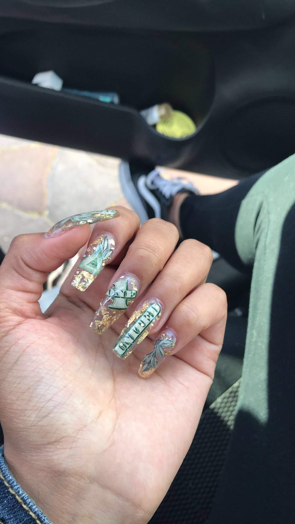 Money Acrylic Nails Bling Nails Coffin Nails Designs Birthday Nails