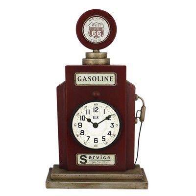 route 66 gasoline table clock the range for the home. Black Bedroom Furniture Sets. Home Design Ideas