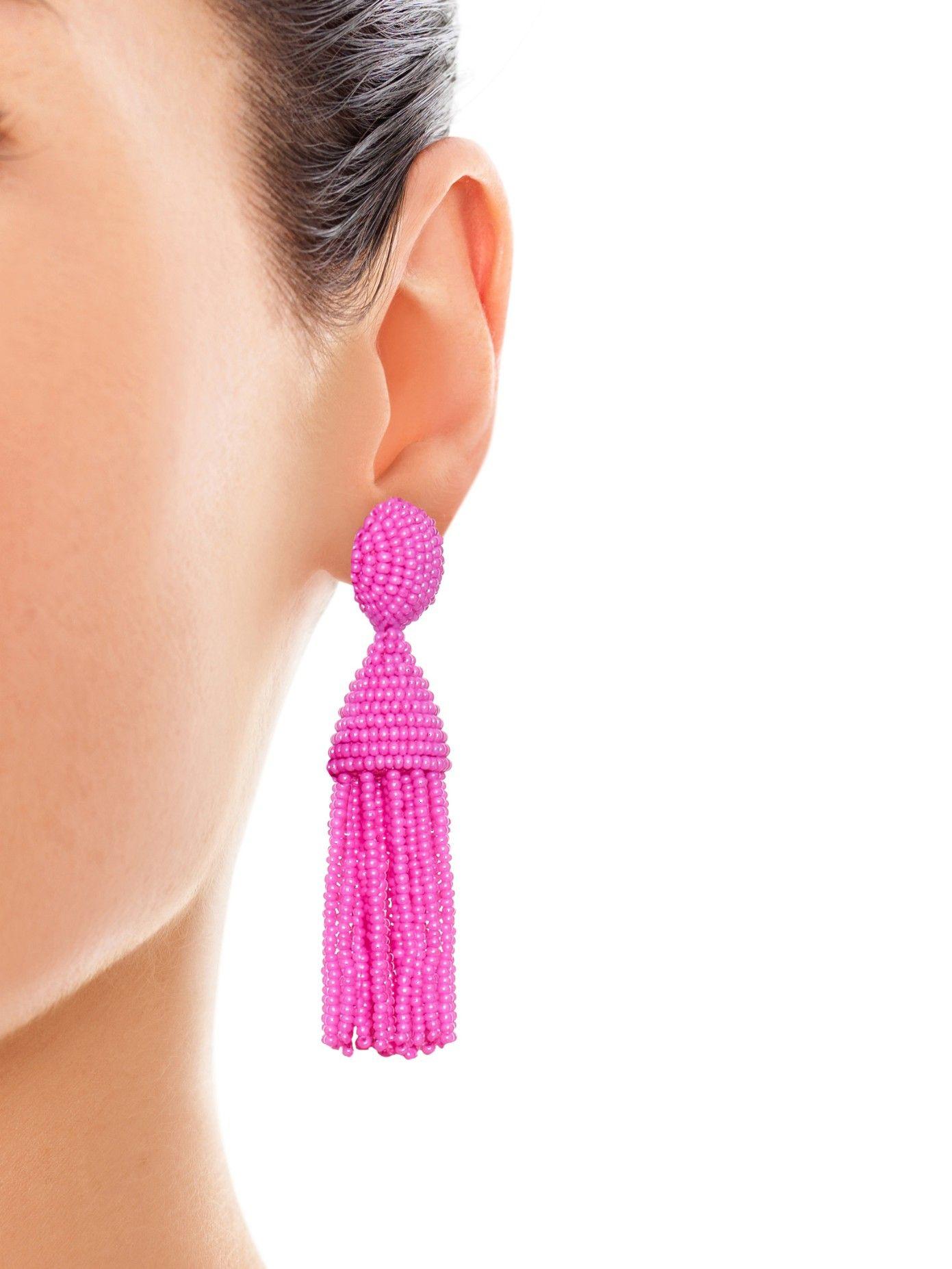Boucles D'oreilles Pompon Perles - Rose Et Violet Oscar De La Renta hYqZJy08