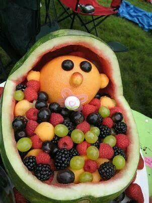 Cantaloupe Melon Head Baby In A Watermelon Basinet Filled With A Blanket Of Grapes Black Berries Raspberries And Cantaloupe Ball Watermelon Baby Watermelon Baby Carriage Fruit Vegetable Carving August 19, 2020, 1:30 pm. pinterest