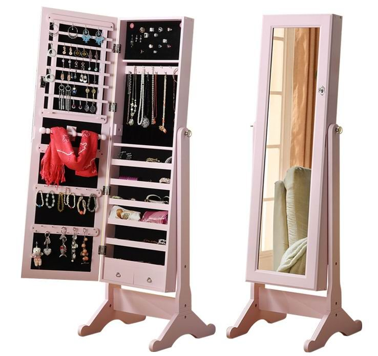 Standing Mirror Jewellery Storage Cabinet With Pink Frame Suitable As A Storage Jewelry The Girls Who Mirror Jewelry Storage Mirror Jewellery Cabinet Furniture