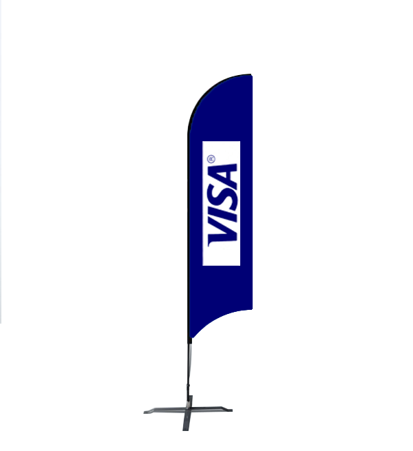 12 1ft Custom Concave Flag With Ground Spike   Flag Banner