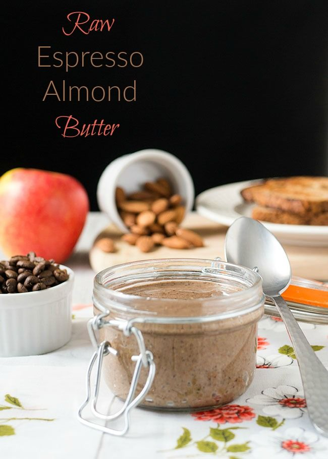 Healthy, raw homemade almond butter with espresso | Great healthy snack or breakfast with apple slices or on toast.