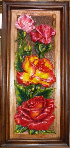 Rosas Decorativas Madera Tallada