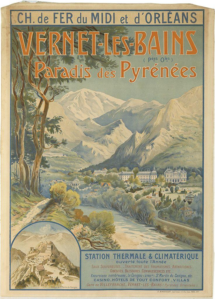 Vintage Railway Travel Poster Vernet Les Bains Paradis Des