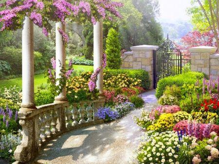 Rialto garden - spring, gate, garden, summer, colorful ...