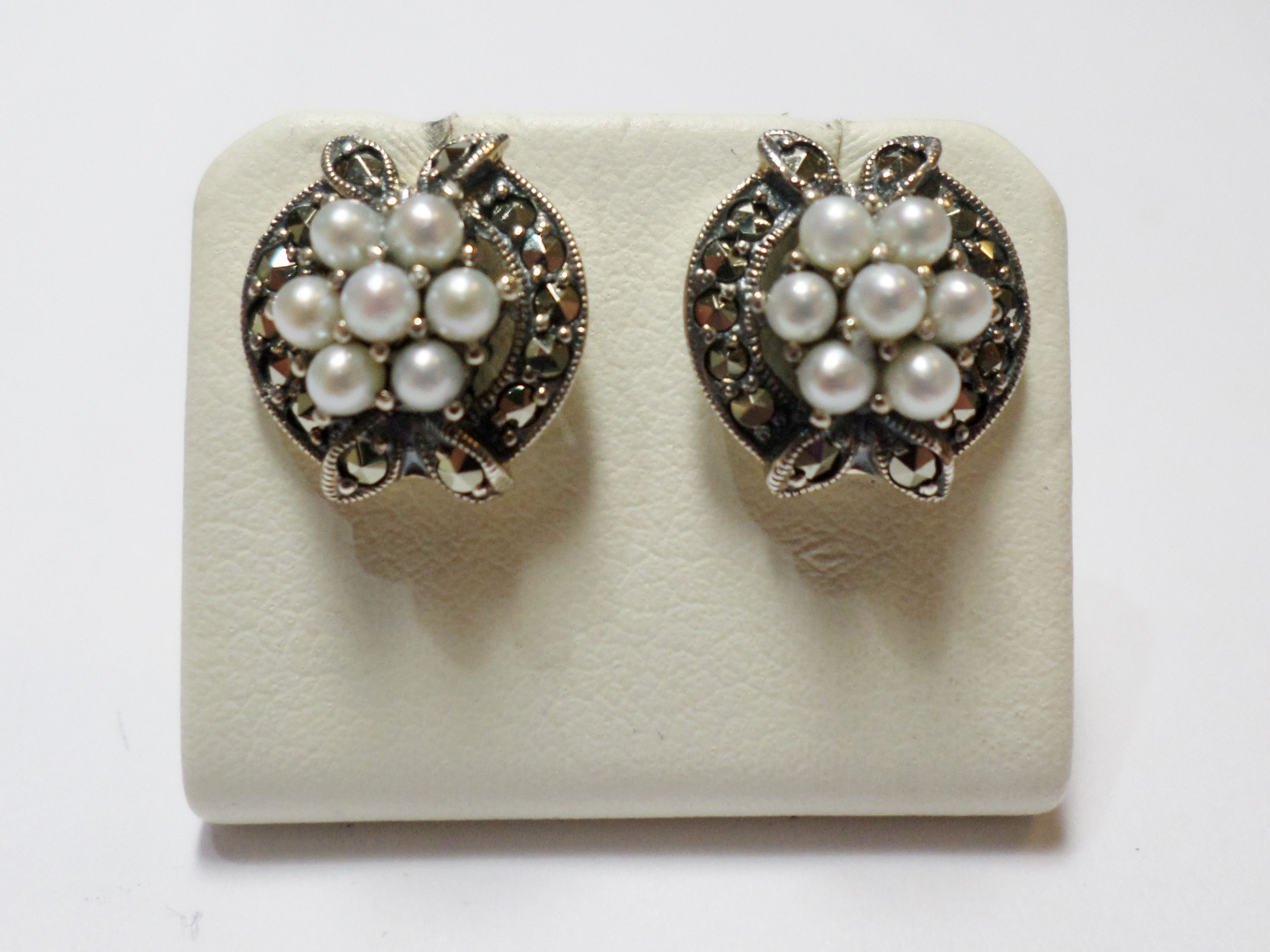 antique pin sterling set freshwater vintage cultured pearls cluster and seed stud flower with earrings marcasite silver