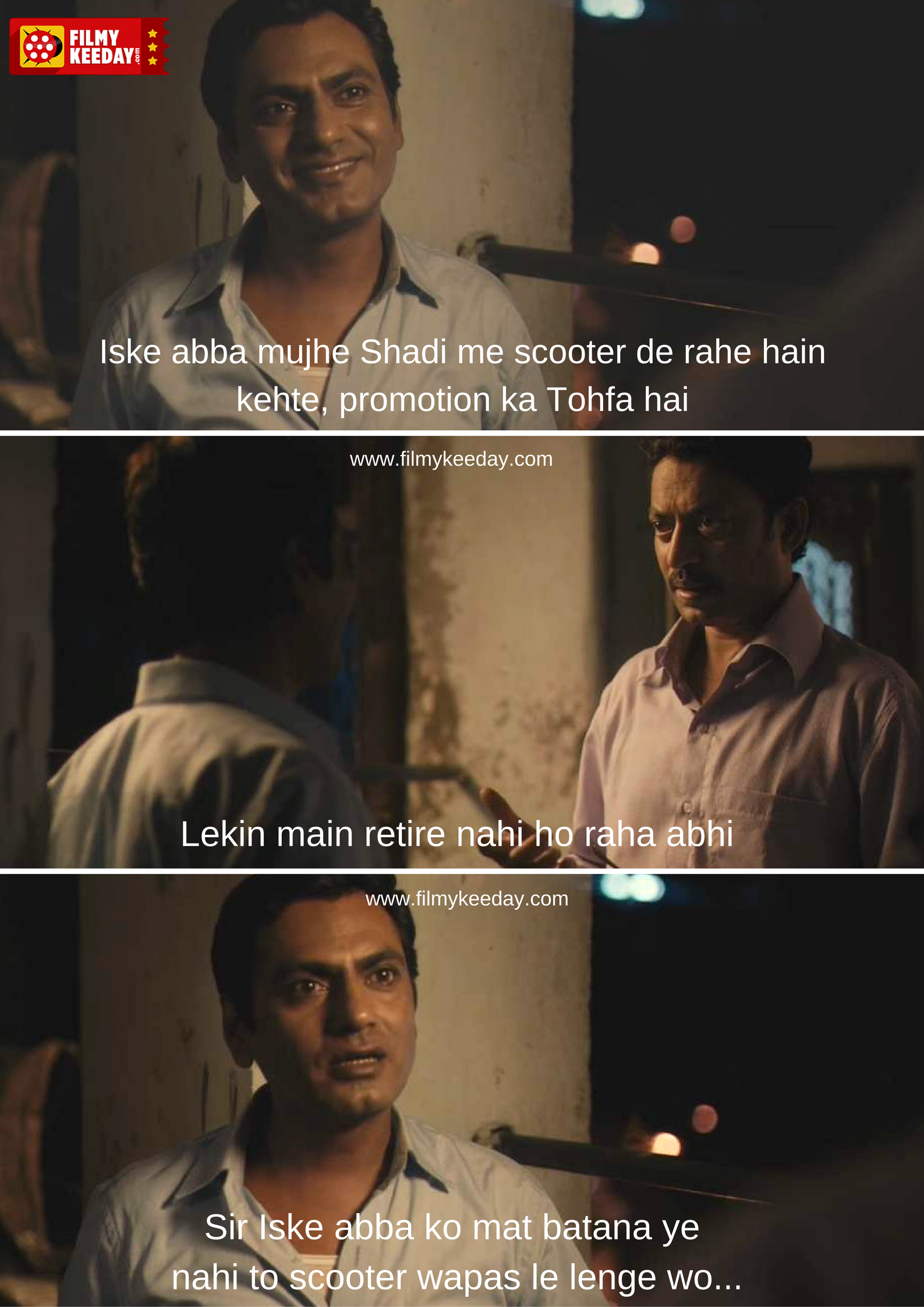 Nawazuddin Siddiqui in The Lunchbox with irrfan Khan  Scooter Dialogue