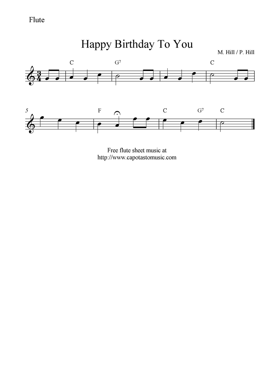 Free Sheet Music Scores Happy Birthday To You Free Flute Sheet
