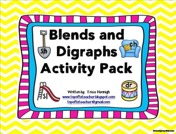 This is a collection of activities to teach blends and digraphs in the Kindergarten and 1st Grade classroom or as intervention in the older grades.  I have used these activities for whole group instruction and work stations, but they can also be used for small group instruction as well.Included in this pack:Flashcards (color & black and white)Blends and Digraphs Student Chart  (color & b/w)Pictures to Make Class Anchor Charts  (black &  white)Picture Sort WorksheetsAssessments Spelli...