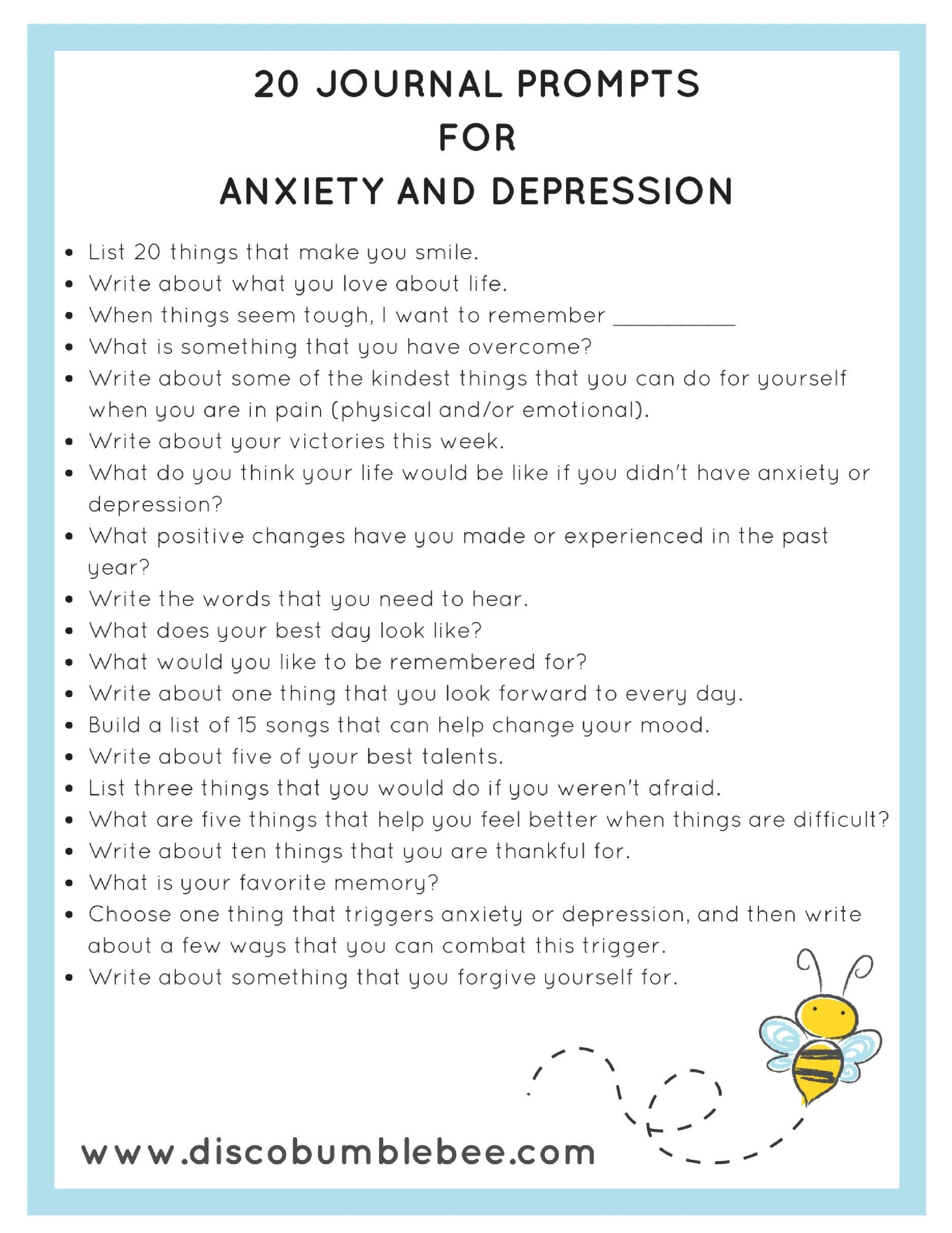 Journal Prompts For Anxiety And Depression Artideas