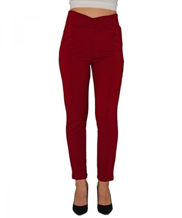 Γυναικείο ψηλόμεσο παντελόνι με τσέπες μπορντό So Sexy 41554C   παντελονιαγυναικεια  women  womensfashion   8d2e5070960