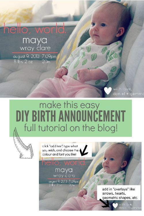 How To Make a DIY Birth Announcement Software, Birth and Fancy