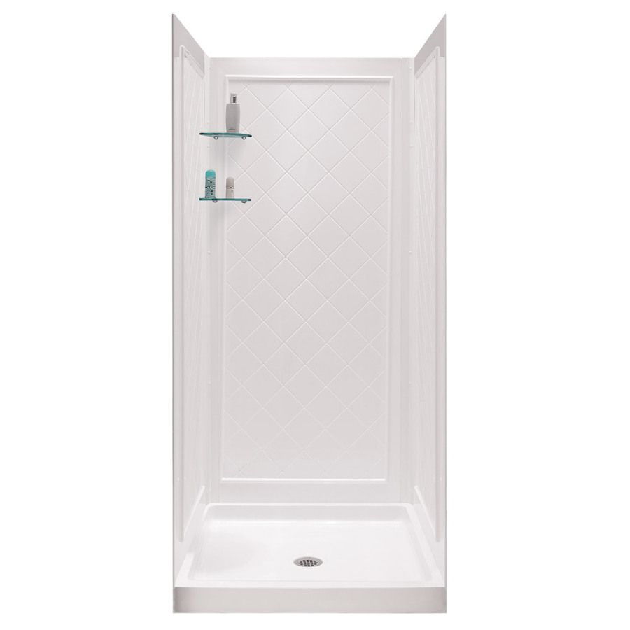 Shop Dreamline White Acrylic Wall And Floor 4 Piece Alcove Shower
