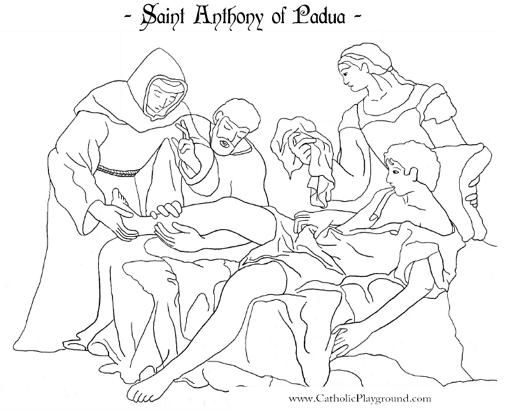 Saint Anthony of Padua Catholic coloring page Feast day is June