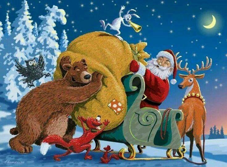 christmas santa loading his sleigh christmas santa pinterest