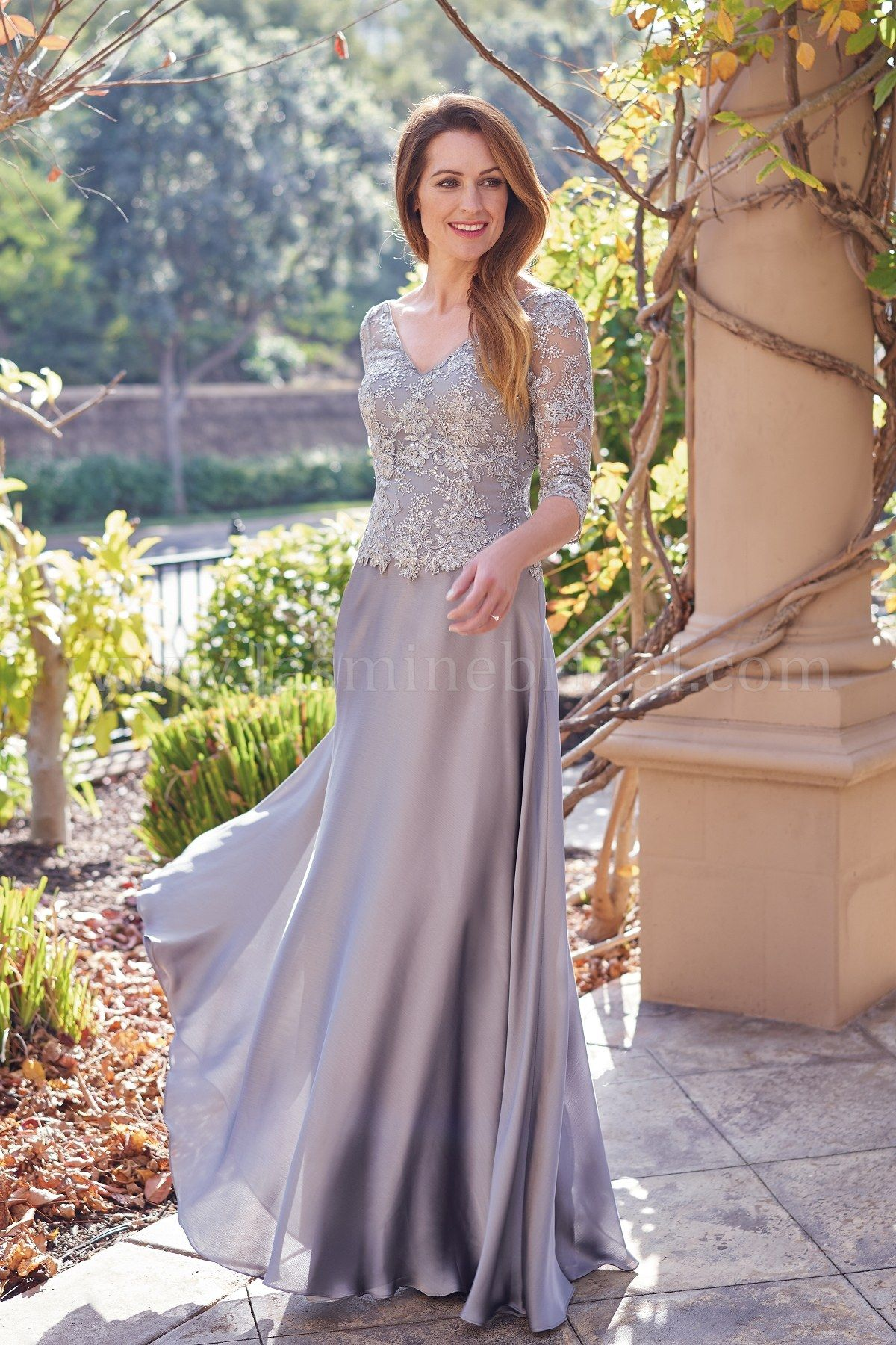 b13afdd826 K208055 V-neck Lace   Satin Face Chiffon MOB Dress