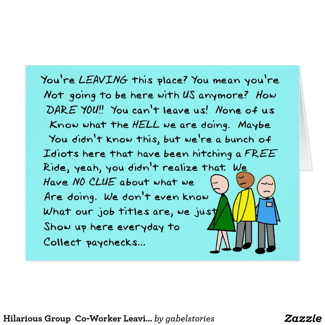 Hilarious Group Co-Worker Leaving Card | Zazzle.com | Co ...