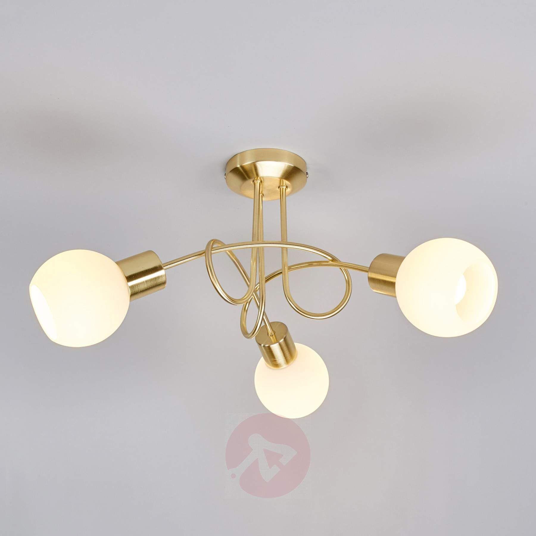 Brass Coloured Led Ceiling Light Elaina 3 Bulb Ceiling Lights Led Ceiling Lights Led Ceiling