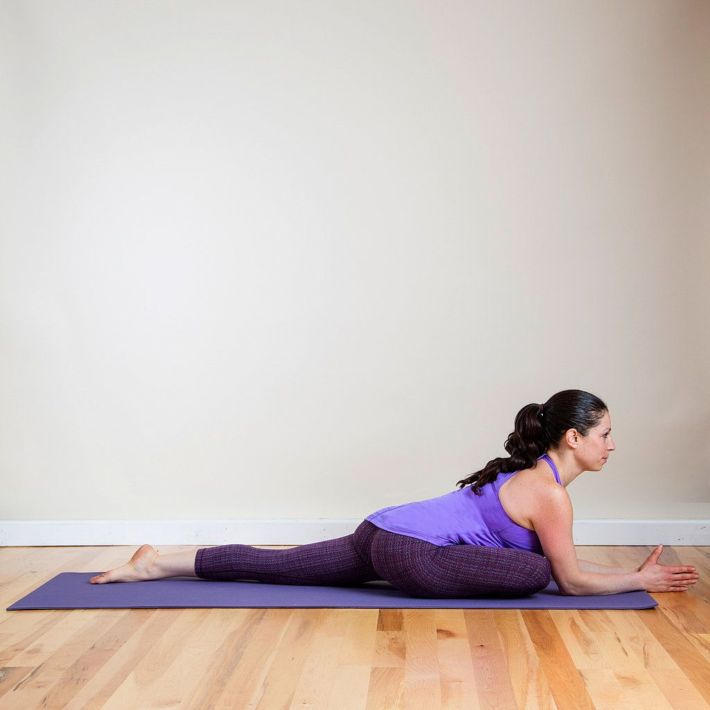 Take this pose as deeply as you want to target the areas of discomfort around your lower back, hips, and thighs.   From Downward Facing Dog, step both feet together, and bring your right knee forward between your hands so your outer right leg is resting on the mat. If your hips are more open, inch your right foot away from you. Make sure your left hip is always pointing down toward the mat. Stay here with your hands resting on your hips or your right leg, or walk your hands out in front of…