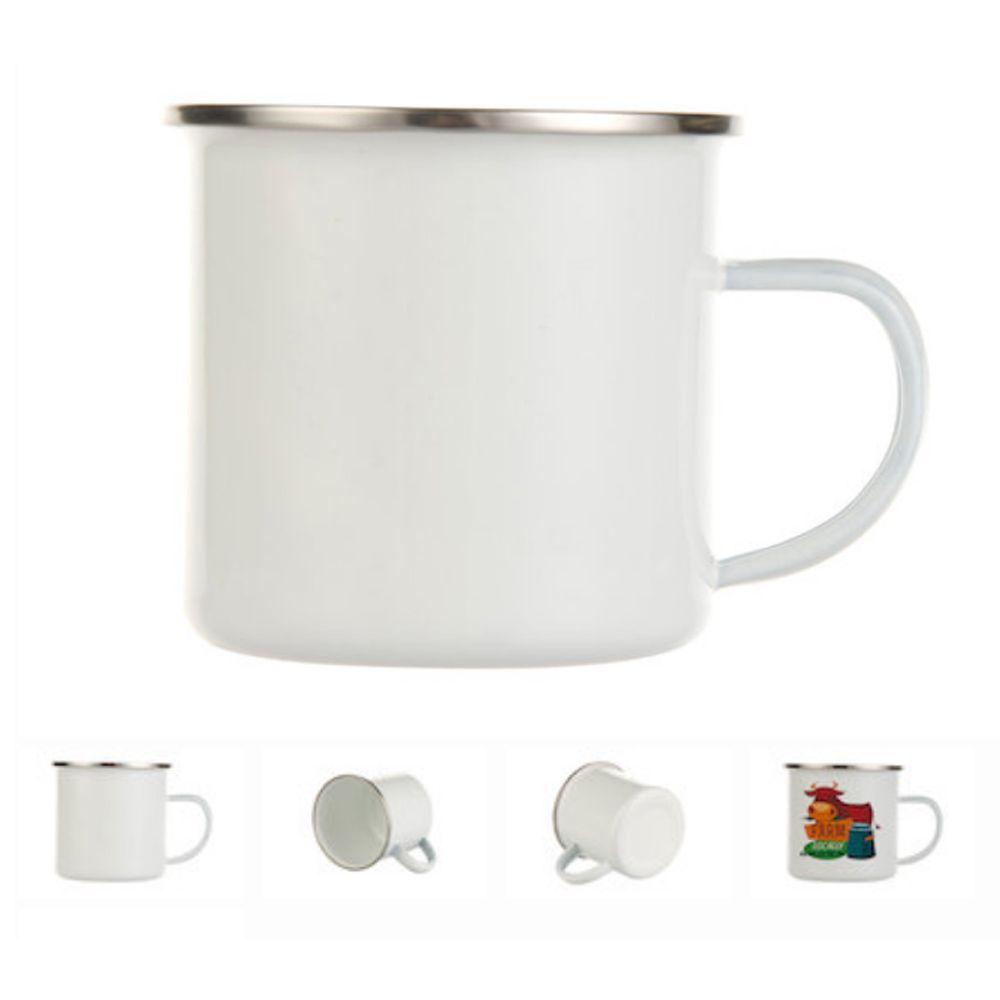 12oz Stainless Steel Camp Mug White Enamel Dye Sublimation Blank Sublimation Blanks Mugs Camping Cups