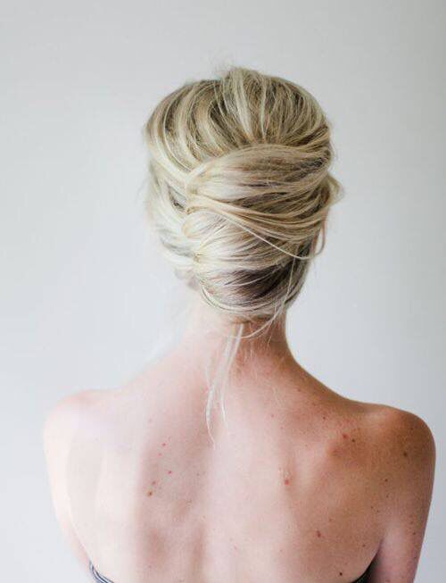 Back View Of A Hair Bun Hairstyle Hair Styles Long Hair Styles Wedding Hair Inspiration