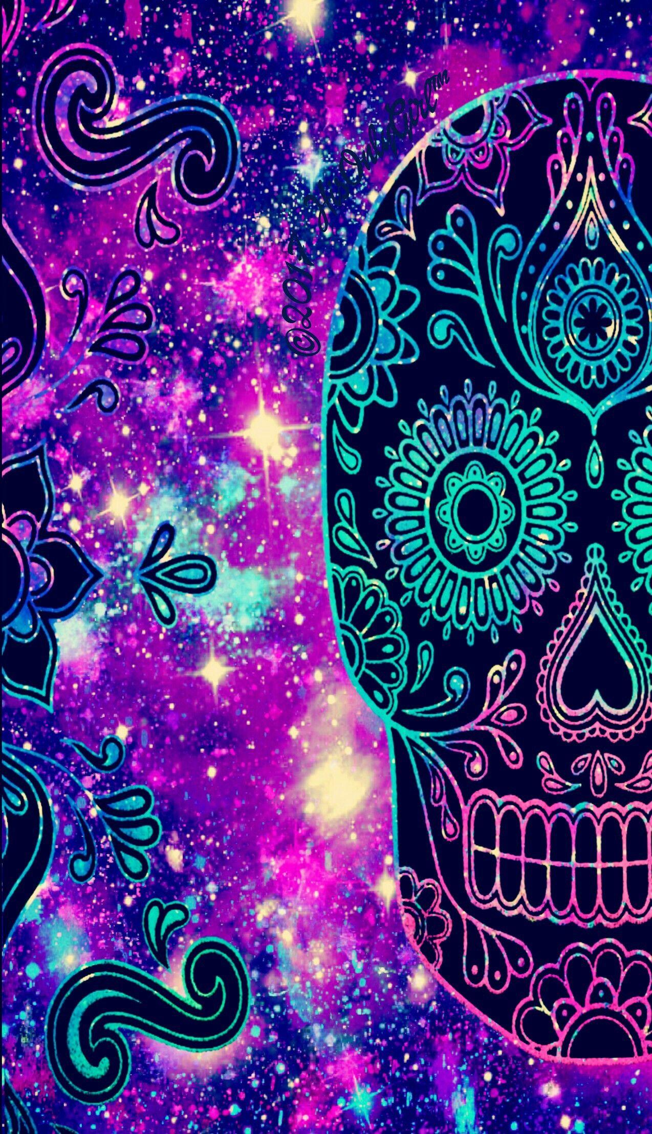 Colorful Tribal Galaxy Skull Wallpaper I Created For The App Cocoppa Skull Wallpaper Art Wallpaper Iphone Cute Galaxy Wallpaper