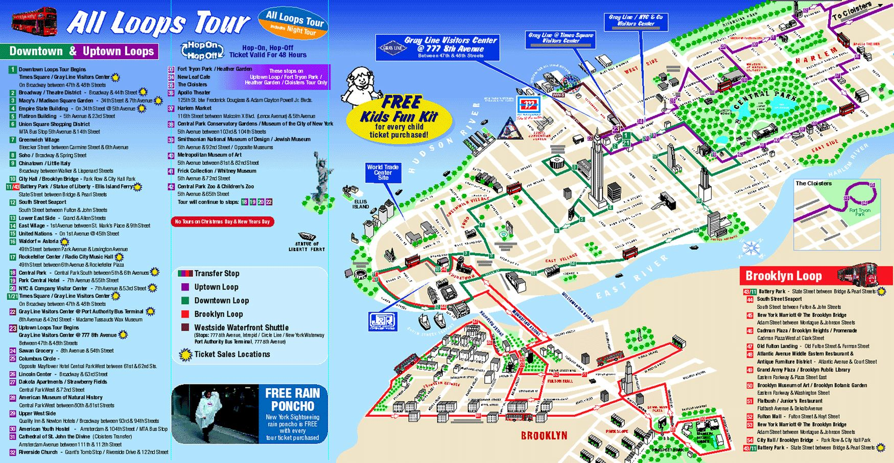 Map of new york city attractions printable tourist for Attractions in new york new york