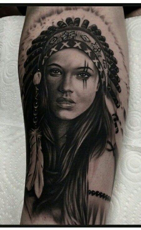 Native American Portrait Indian Girl Tattoos Indian Tattoo Native American Tattoo Sleeve