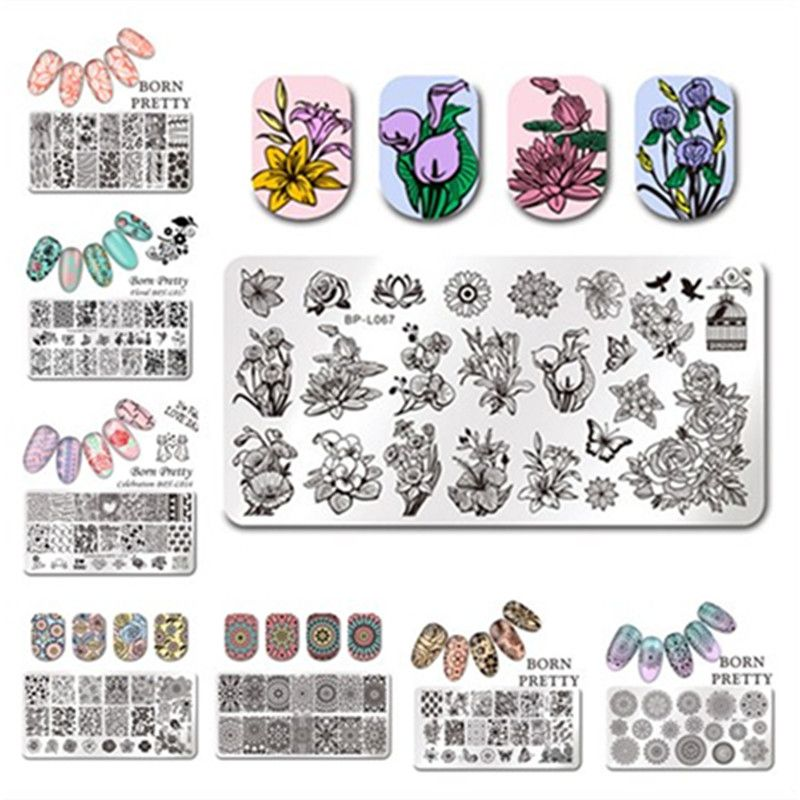 BORN PRETTY Floral Nail Stamping Plate Rectangle Various Flower - health history template