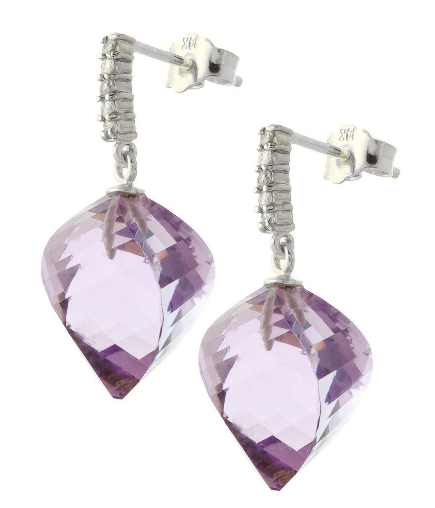 Amethyst and Diamond Stud Earrings 21.5ctw in 9ct White Gold #Gemstones #Jewellery #GemstoneJewellery