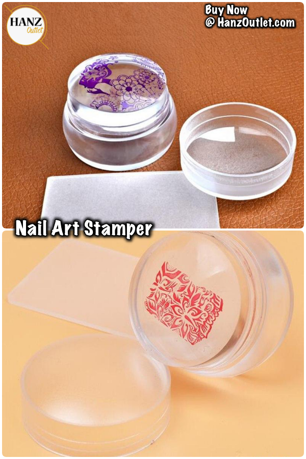 Nail Art Templates 3.5cm Head Design Matte Nail Art Stamper Stamping Scraper With Cap Silicone Jelly Clear Transparent Template Tools Manicure Set
