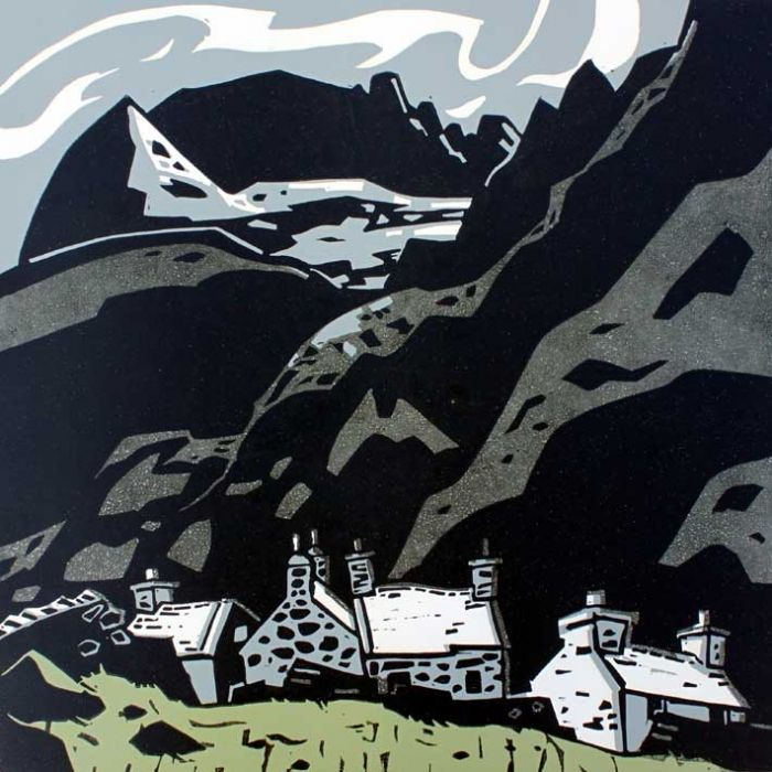 Sir Kyffin Williams - Cottages at Gwastadnant (Linocut)