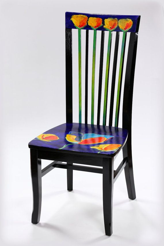 Found Object Chair Poppy Functional Art Hand Painted