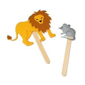 Lion and Mouse Craft Stick Puppets