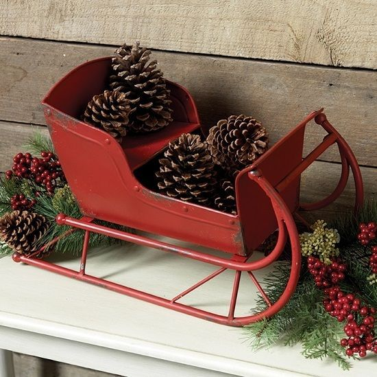 big red cast iron metal sled sleighprimitivefrench country christmas decor - A Country Christmas Cast