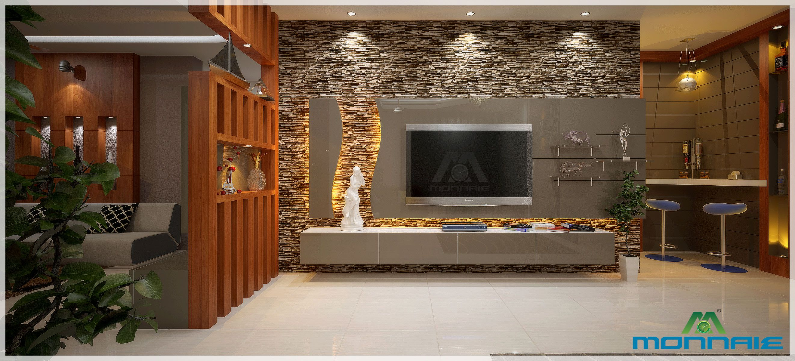 Simple Lcd Unit With Modern Bar Counter Stone Cladding