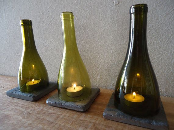 Etsy item spotlight: Tea Light Candle Holders Hurricane Lamps Lanterns made  from Upcycled Wine Bottles Large Quantities Available