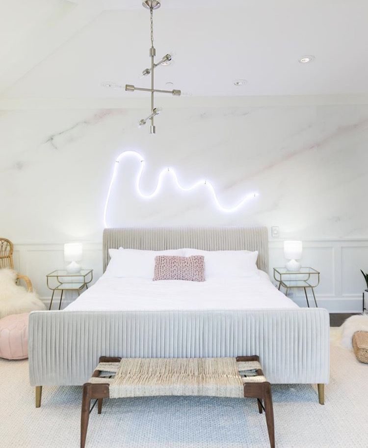 Kate Palm Springs Pastel Bedroom Makeover For Alisha Marie Neon Over Headboard